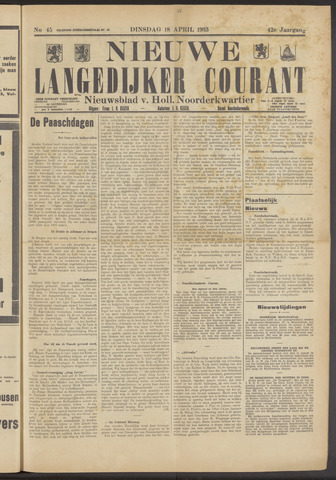 Nieuwe Langedijker Courant 1933-04-18