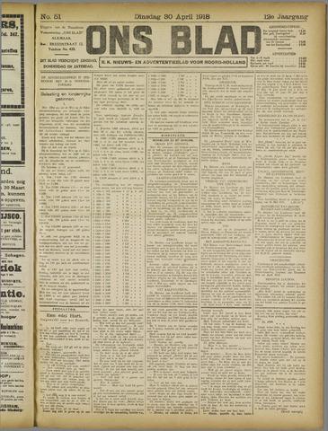 Ons Blad : katholiek nieuwsblad voor N-H 1918-04-30