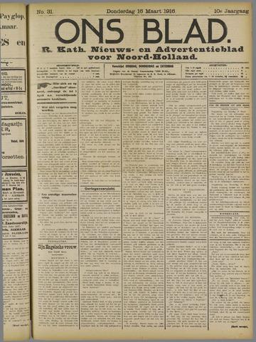 Ons Blad : katholiek nieuwsblad voor N-H 1916-03-16