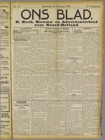 Ons Blad : katholiek nieuwsblad voor N-H 1911-02-18