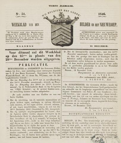 Weekblad van Den Helder en het Nieuwediep 1846-12-21