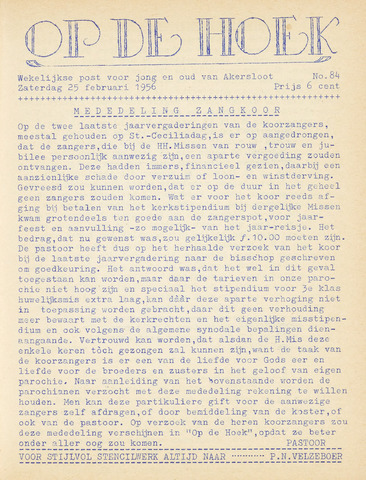 Op De Hoek, weekblad voor Akersloot 1956-02-25