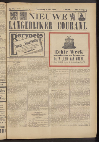 Nieuwe Langedijker Courant 1924-07-03