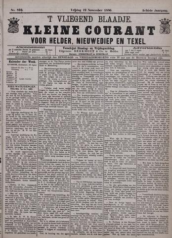 Vliegend blaadje : nieuws- en advertentiebode voor Den Helder 1880-11-19