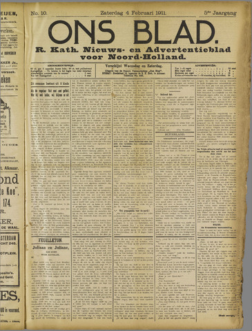 Ons Blad : katholiek nieuwsblad voor N-H 1911-02-04