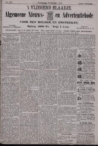 Vliegend blaadje : nieuws- en advertentiebode voor Den Helder 1875-10-13