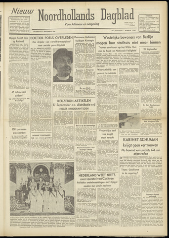 Nieuw Noordhollandsch Dagblad : voor Alkmaar en omgeving 1948-09-08