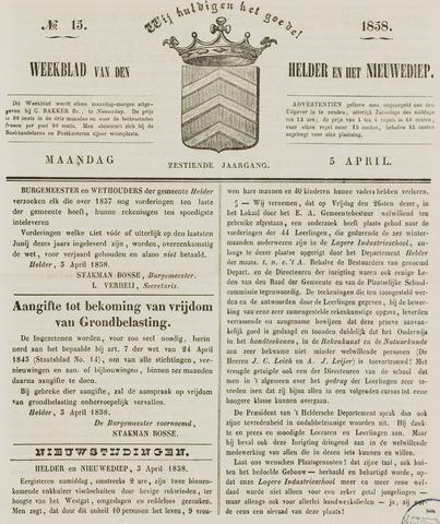 Weekblad van Den Helder en het Nieuwediep 1858-04-05