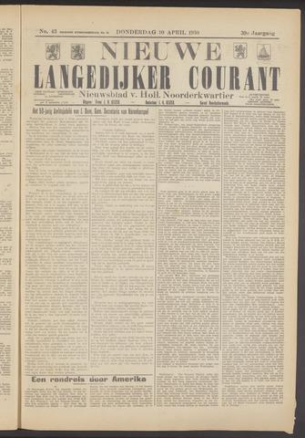 Nieuwe Langedijker Courant 1930-04-10