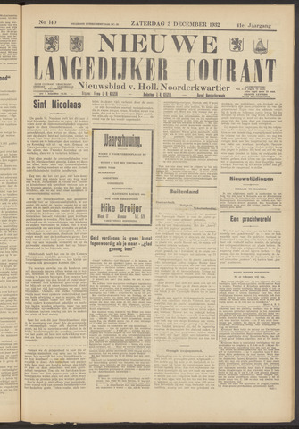 Nieuwe Langedijker Courant 1932-12-03