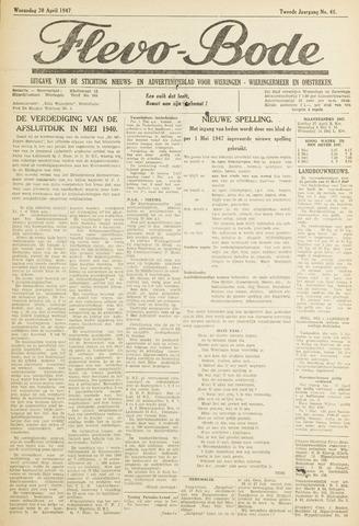 Flevo-bode: nieuwsblad voor Wieringen-Wieringermeer 1947-04-30
