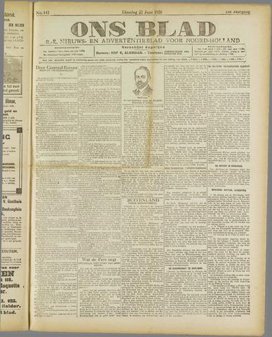 Ons Blad : katholiek nieuwsblad voor N-H 1920-06-22