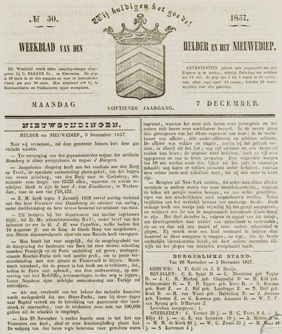 Weekblad van Den Helder en het Nieuwediep 1857-12-07
