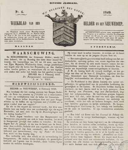 Weekblad van Den Helder en het Nieuwediep 1849-02-05