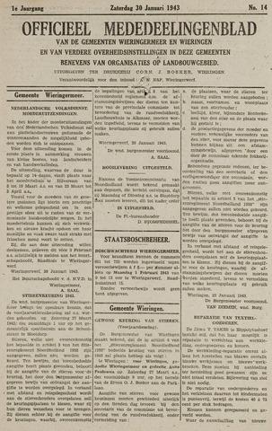 Mededeelingenblad Wieringermeer en Wieringen 1943-01-30