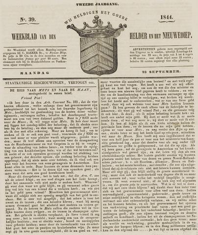 Weekblad van Den Helder en het Nieuwediep 1844-09-23
