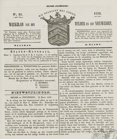 Weekblad van Den Helder en het Nieuwediep 1853-03-14