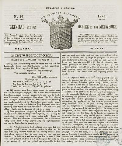 Weekblad van Den Helder en het Nieuwediep 1854-06-26