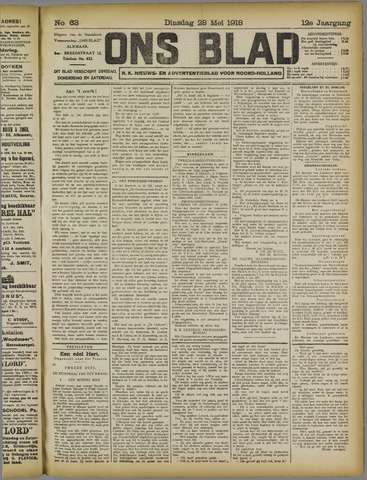 Ons Blad : katholiek nieuwsblad voor N-H 1918-05-28