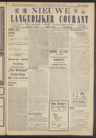 Nieuwe Langedijker Courant 1930-08-23