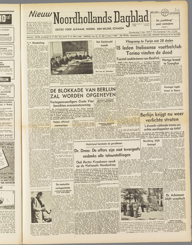 Nieuw Noordhollandsch Dagblad : voor Alkmaar en omgeving 1949-05-05