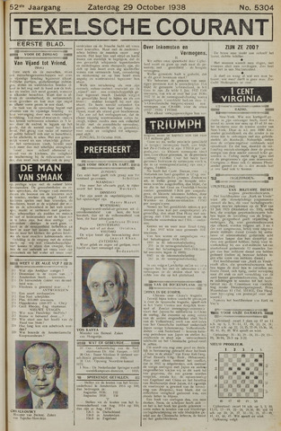Texelsche Courant 1938-10-29