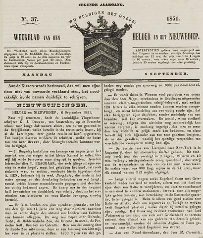 Weekblad van Den Helder en het Nieuwediep 1851-09-08