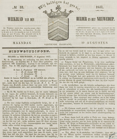 Weekblad van Den Helder en het Nieuwediep 1857-08-10