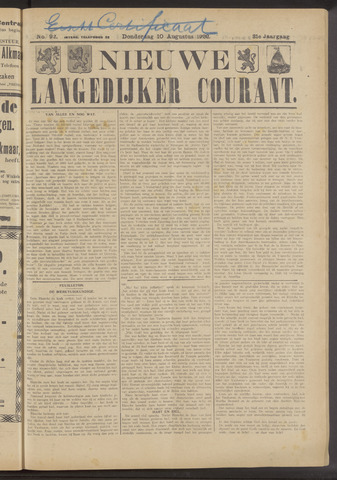 Nieuwe Langedijker Courant 1922-08-10