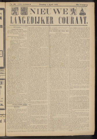 Nieuwe Langedijker Courant 1924-04-01