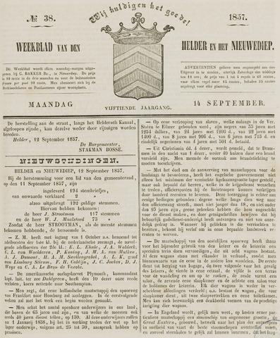 Weekblad van Den Helder en het Nieuwediep 1857-09-14
