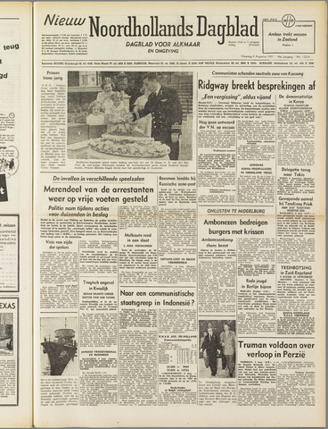 Nieuw Noordhollandsch Dagblad : voor Alkmaar en omgeving 1951-08-06