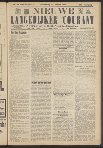 Nieuwe Langedijker Courant 1929-10-17
