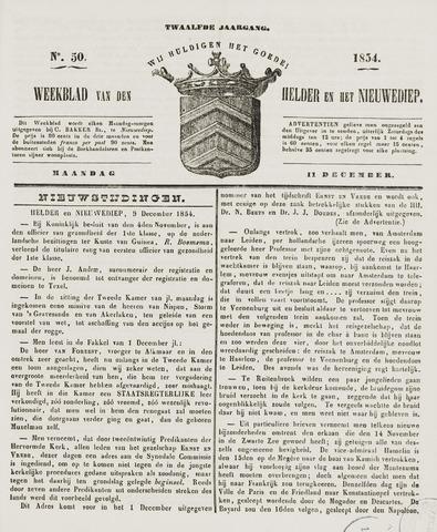 Weekblad van Den Helder en het Nieuwediep 1854-12-11
