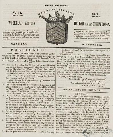 Weekblad van Den Helder en het Nieuwediep 1847-10-11