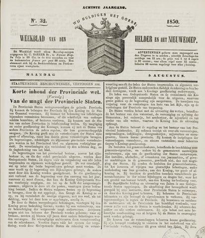 Weekblad van Den Helder en het Nieuwediep 1850-08-05