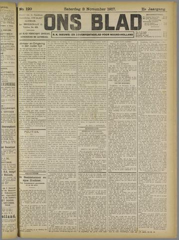 Ons Blad : katholiek nieuwsblad voor N-H 1917-11-03