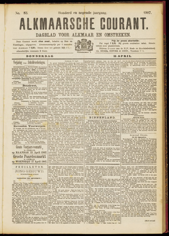 Alkmaarsche Courant 1907-04-11