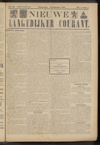 Nieuwe Langedijker Courant 1924-02-28