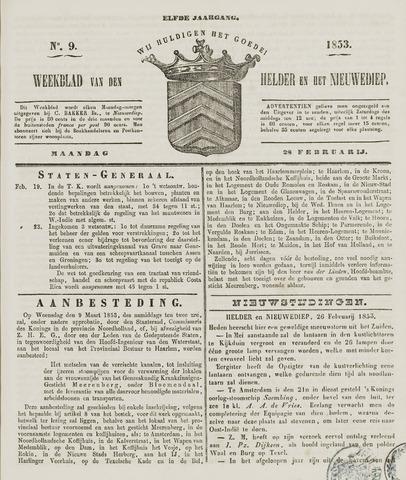 Weekblad van Den Helder en het Nieuwediep 1853-02-28