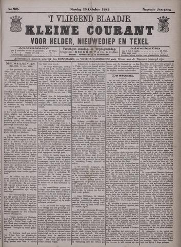 Vliegend blaadje : nieuws- en advertentiebode voor Den Helder 1881-10-18