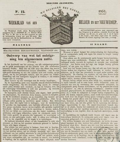 Weekblad van Den Helder en het Nieuwediep 1851-03-17