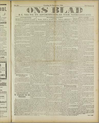 Ons Blad : katholiek nieuwsblad voor N-H 1920-12-14
