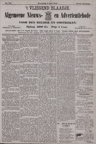 Vliegend blaadje : nieuws- en advertentiebode voor Den Helder 1875-06-09