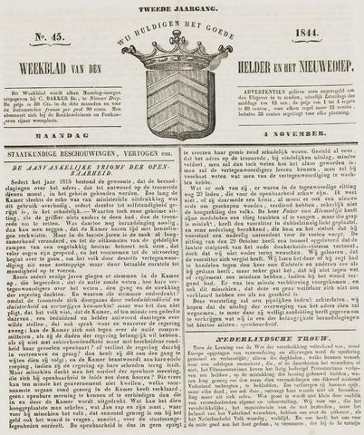 Weekblad van Den Helder en het Nieuwediep 1844-11-04
