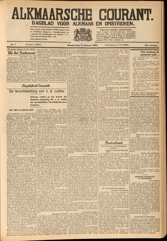 Alkmaarsche Courant 1934-01-11
