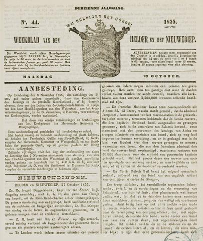 Weekblad van Den Helder en het Nieuwediep 1855-10-29