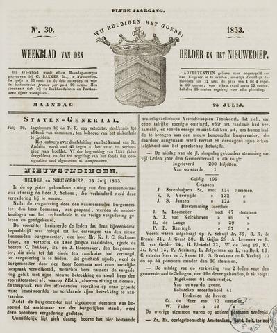 Weekblad van Den Helder en het Nieuwediep 1853-07-25