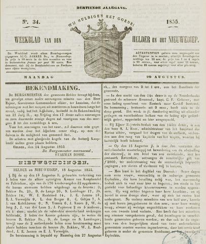 Weekblad van Den Helder en het Nieuwediep 1855-08-20