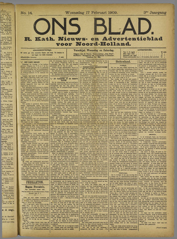 Ons Blad : katholiek nieuwsblad voor N-H 1909-02-17
